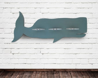 Turquoise Whale Coat Rack with Boat Cleats 3 Feet Long
