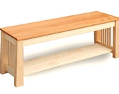 """Ships free - Maple Bench/TV stand with tansu legs, Maple with Mahogany seat, 46""""L"""