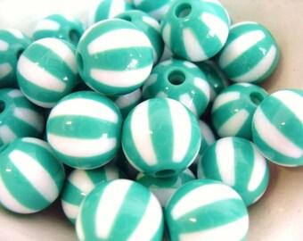 20x 12mm Resin Watermelon Globe beads in Green and white ..beachball