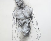 """Male Gesture Figure Drawing  - 14 x17"""",  fine art - Drawing 94 - pastel on paper - original drawing"""