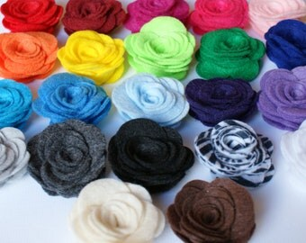 YOU PICK Colors 50 Felt Roses Felt Flowers DIY Rose Accessories Supplies for Hair Accessories You Choose Custom Colors