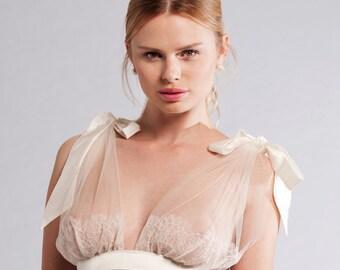 BELLE Bridal wedding Grecian Tulle Bra with silk satin Bows - White wedding Bra, Honeymoon lingerie, Sheer bra