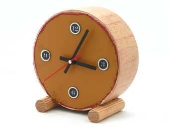 FREE SHIPPING - Clock circle drum, Mustard color, Silent clock, Desk clock, Wooden clock, Unique gift, No tickicg clock