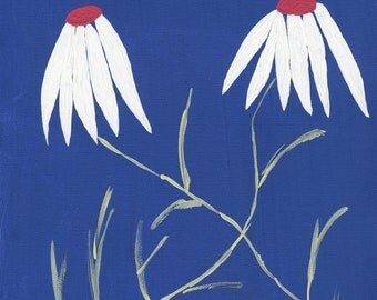 Friendly Dancing White Daisies With Blue Background Giclee Canvas Print 9 x 12