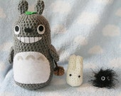 Crochet My Neighbor Totoro Set (Totoro, Small White Totoro and Soot Sprite - Made To Order)