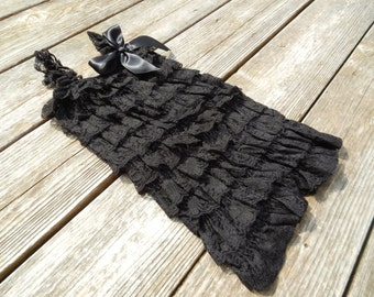Black Petti Romper, Lace Romper, Baby Romper, Photography Prop, Birthday Outfit, Pettiromper, Ruffle Romper, Shabby Chic, Baby, Kids, Girls