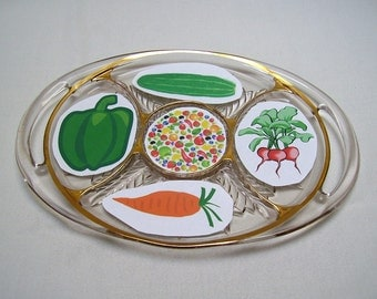 Divided Serving Tray - Pressed Glass with Handles - Gold Gilded - 1950s