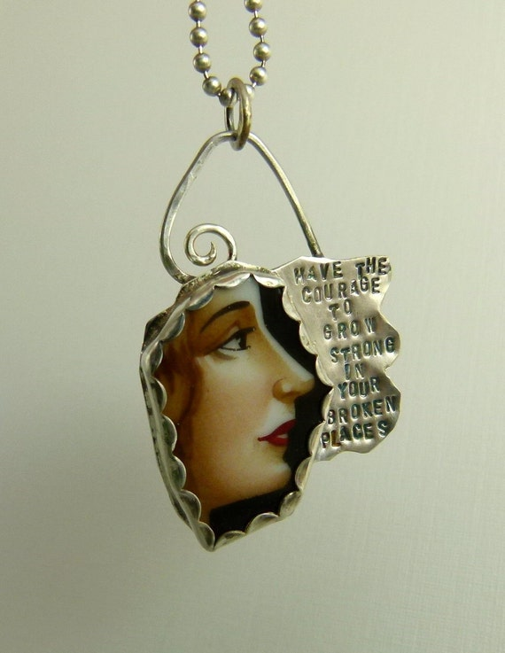 The Courage To Grow - Upcycled Sterling Silver and Broken Ceramic Plate - Art Jewelry Pendant - 832
