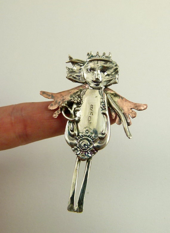 Angel Gaelyn Is Growing - Upcycled Sterling, Silverware, Copper, And PMC - Pendant - 838