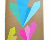 Neon Notebook, Back to School - 18 Page Diary - Lime, Pink, Orange, Cream - Color Page Journal, Geometric, Earthy, Burst, Shapes, Diamond
