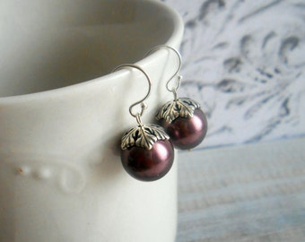 Burgundy Pearl Earrings With Pewter Leaf Beadcaps