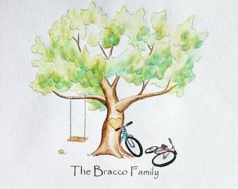 Family Tree - Original Thumb Print Family Tree. Original Water Color Illustration- Custumize
