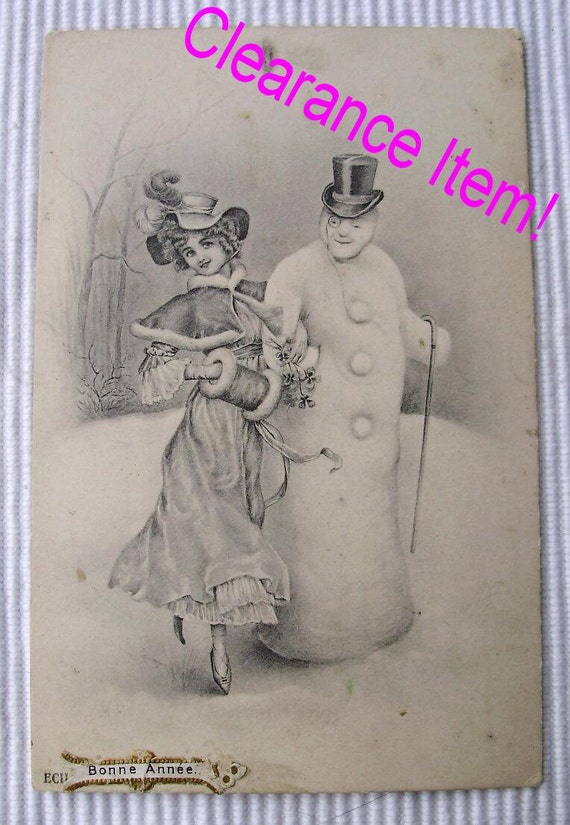 French Antique Christmas / New Year Postcard - Lady & Snowman (Clearance Item)