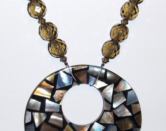 Inlaid Shell Pendant Necklace