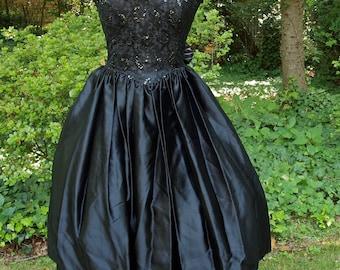 Gunne Sax Dress Black Strapless Sequin Lace and Satin Tie Back Full Skirt size Small/Medium