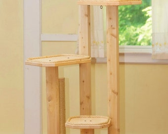 Six Foot Cat Tree - Cedar Posts - Four Levels - Natural Cat Tree - Large Cat Tree