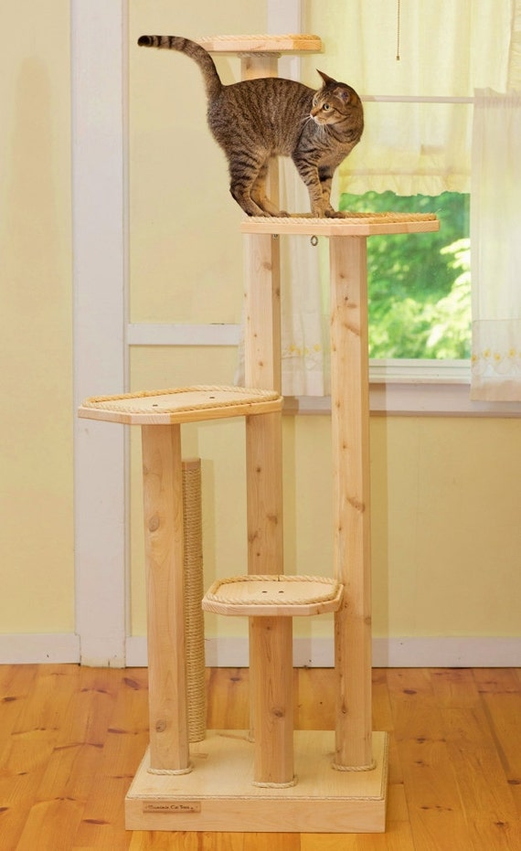six foot cat tree cedar posts four levels natural cat