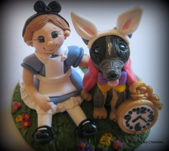 Alice in Wonderland Theme Birthday Cake Topper Polymer Clay