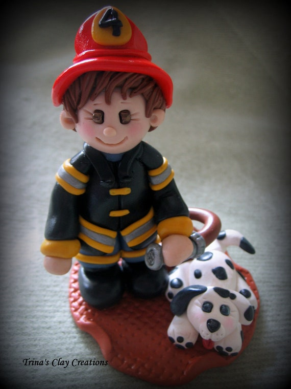 Polymer Clay Fireman and His Dog, Birthday Cake Topper