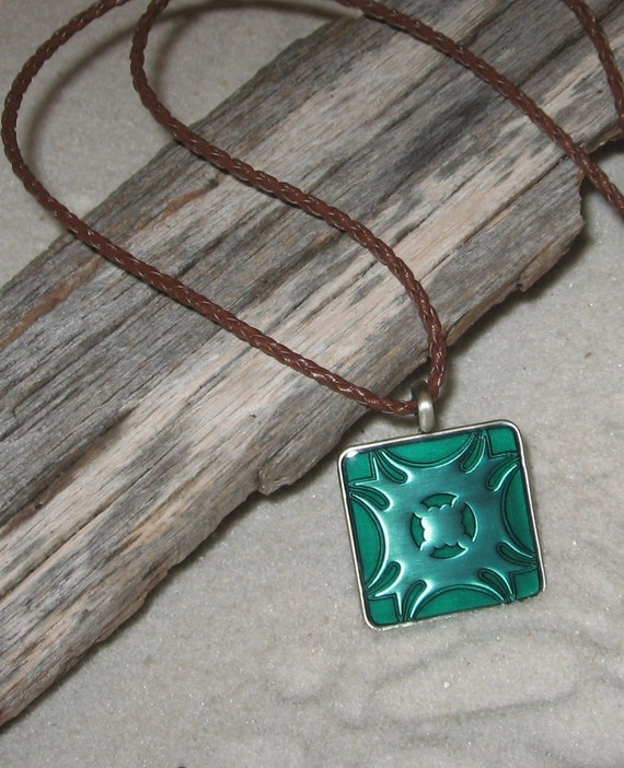 Green Epoxy Pendant on Braided Leather Cord