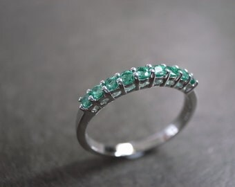 Emerald Wedding Ring in 14 White Gold