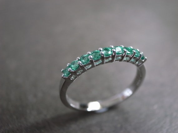 Emerald Wedding Ring in 14 White Gold Wedding Band Emerald