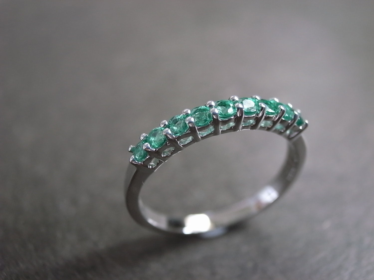 Emerald wedding ring in 14 white gold wedding band emerald for Emerald green wedding ring