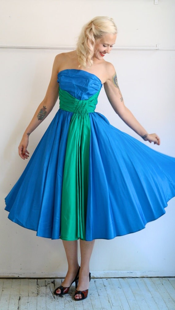 1950s Dress // Blue Ocean Blue // Vintage 1950s Party Dress // Xsmall