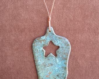 COWBOY BOOT Copper Verdigris Ornament - Handcrafted in The Copper State (Arizona USA)