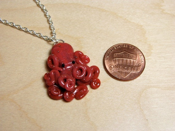 Maroon Baby Octopus Necklace