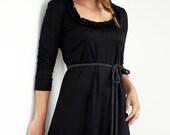 black jersey dress - flowers - polka dots