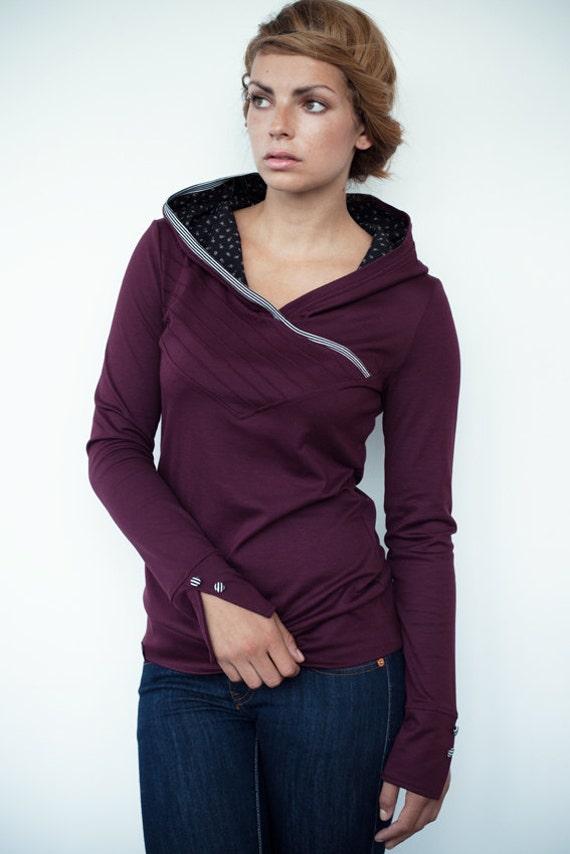hoodie shirt - bordeaux red - flowers