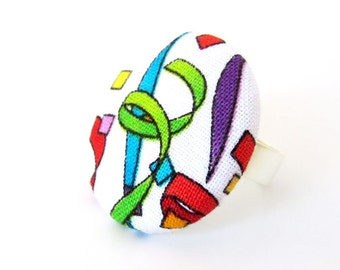 Large statement ring - big bright fabric ring - large button ring - happy rainbow
