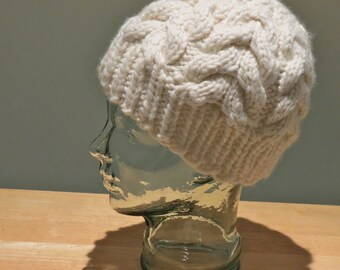 Hand Knit Off White Ivory Cable Beanie Hat