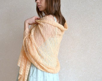 Lace Scarf  Peach Shawl Linen Wrap Wedding Stole Pastel Bridesmaids Shawl Knitted Lace Scarf Lace Apricot Shawl Beach Weddings Stole