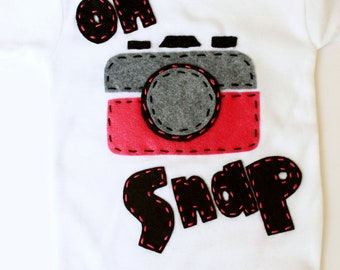 Oh snap one piece, vintage camera, pink, unisex, baby shower gift,