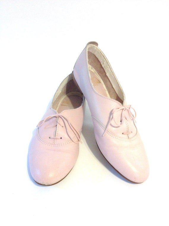 Pastel Pink Leather Oxford Shoes Size 8 By Modfolk On Etsy