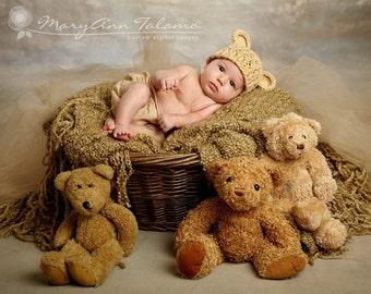 NEWBORN Baby Boy Hat, 0-1 Months Baby Boy Teddy Bear Hat, Boy Crochet Flapper Beanie, Beige with Ears. Professional Photography. Baby Gift.