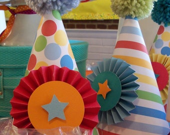 PARTY HAT - Circus, Big Top, Carnival, Vintage Circus, Party Hats, Clown Hats, Birthday Party hats, Penny Circus