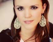 The CHEYENNE - Large Lightweight Aztec Cream Distressed Earrings- ANY Occasion