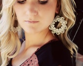 The ALICE - CREAMY White Large Wreath Shaped Filigree ANTHROPOLOGIE Earrings- Bridesmaid Gifts, Stocking Stuffer, Gift
