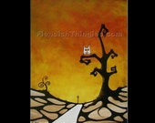 "Light at the End..  original acrylic painting on 16"" x 20"" canvas by Owen Klaas tree orange red owl moon path"