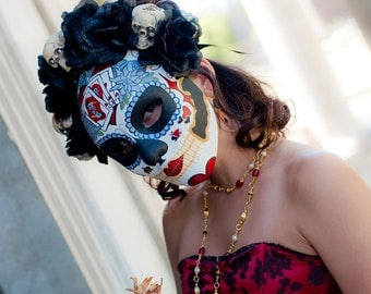 Poker face Day of the Dead Mask - Dia de los muertos Face mask - Black roses and skulls hand painted