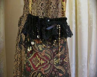 Bohemian Gypsy Purse, handmade bohemian bag, tapestry fabric, beads black lace SMALL