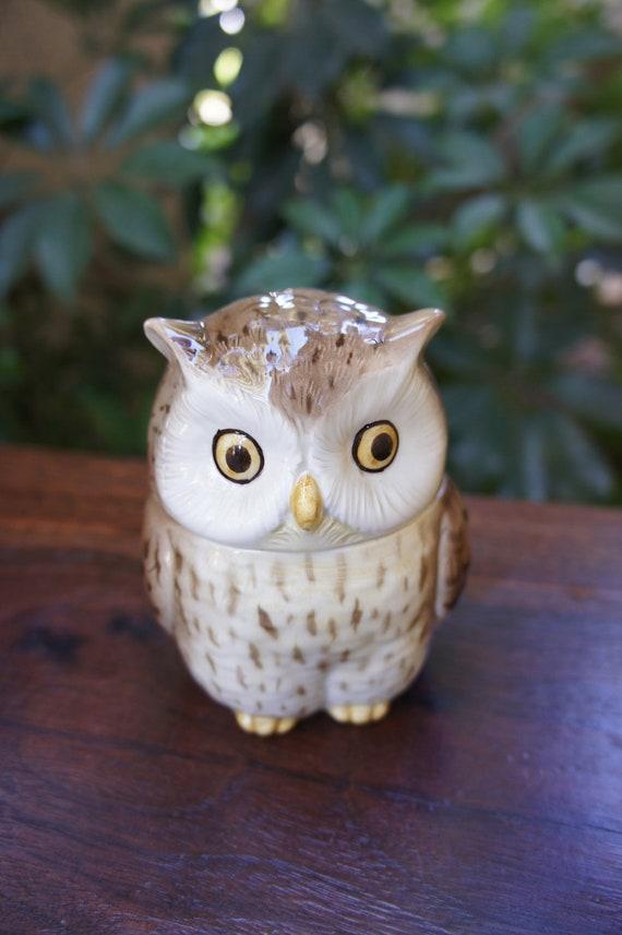 Glazed ceramic owl sugar bowl vintage otagiri owl jar with space in