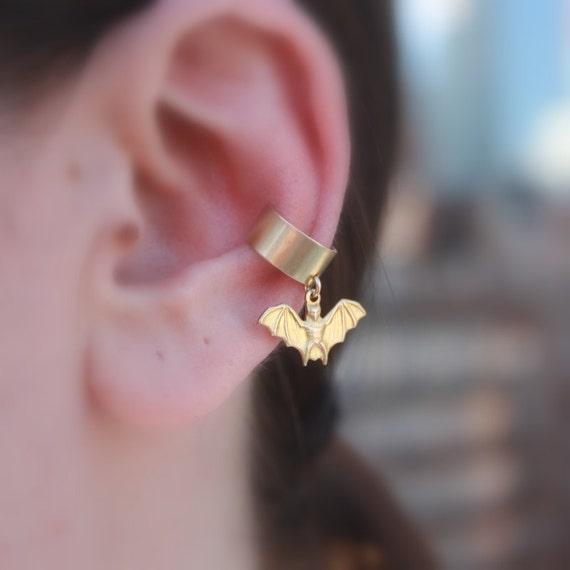 Bat Ear Cuff - Gothic Jewelry, Earrings, Ear Cuff . Gold Bat Charm . Gifts for Her