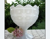 Large Milk Glass Compote - Wedding Centerpiece