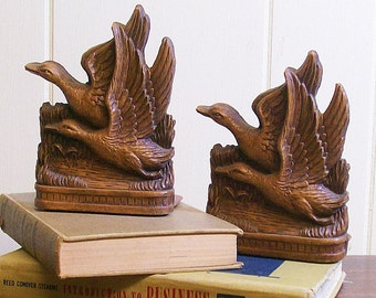Vintage Bookends Flying Ducks SyrocoWood
