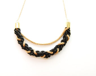 Braided Crescent - Braided Rope Necklace Gold and Black