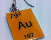Periodic Table Gold Nerd Dangle Earrings, Au